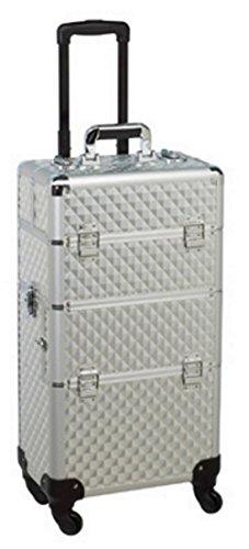 Aluminium – Valise à 4 roulettes : – Maquillage – Coiffure visagisten – Ongles – Beauty – Modélisme –..... couleur : Argent