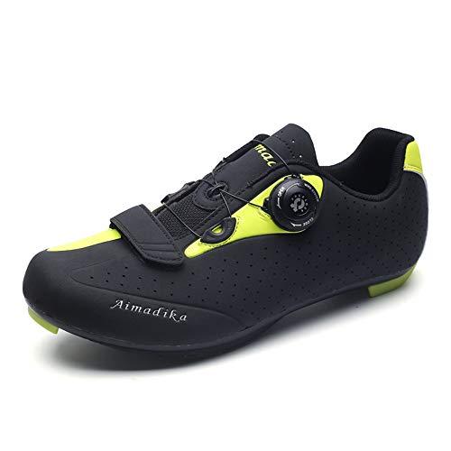 Scarpe da Ciclismo da Uomo, Scarpe da Ciclismo da Strada Traspiranti. Anti-Skid Lock. Scarpe da Corsa per Uso Professionale,Green,41