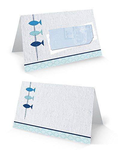 100pezzi blu bianco tuerkise maritime 3pesci blanko segnaposto nome etichette, carte segnaposto per il battesimo, comunione,...-segni di nome di nome kaertchen-scrivere con qualsiasi penna.