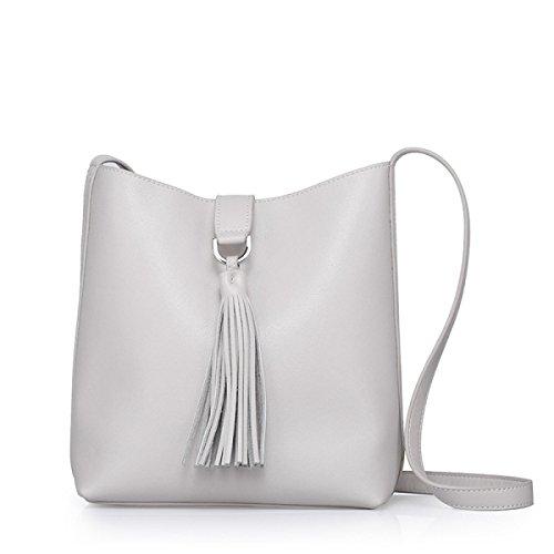 ZPFME Womens Handtasche Leder Umhängetasche Diagonalpaket Handtaschen Mit Leder Mädchen Party Retro Damen Mode White