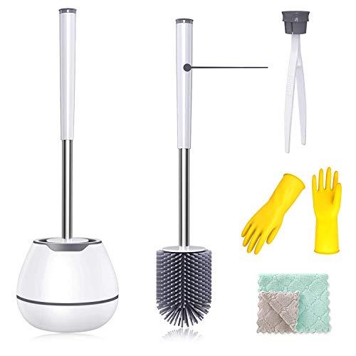 Klobürste, MAJALIS 4 in 1 Edelstahl Silikon WC Bürste mit Elegante Halter Toilettenbürste, WC-Garnitur mit Microfasertuch, Reinigungshandschuhe