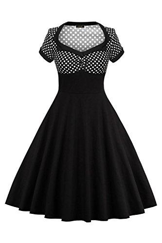 MisShow Robe Femme Vintage Imprimée à Pois Mi Longue année 50s Manche Courte Robe de Gala Mi Longue Swing Plissée Noir 3XL