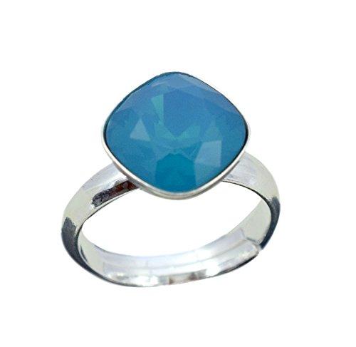 Crystals & Stones 925 Silber Ring *RHOMBUS SQUARE* *VIELE FARBEN* Swarovski Elements - 925 Sterling Silber Damen Ring Größe Verstellbar (Caribean Blue)