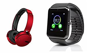 MIRZA Extra Bass XB650 Headphones & GT08 Bluetooth Smart Watch for SAMSUNG GALAXY S7(XB 650 Headphones,With MIC,Extra Bass,Headset,Sports Headset,Wired Headset & Bluetooth GT08 Smart Watch Wrist Watch Phone with Camera & SIM Card Support Hot Fashion New Arrival Best Selling Premium Quality Lowest Price with Apps like Facebook, Whatsapp, Twitter, Sports, Health, Compatible with Android iOS Mobile Tablet-Assorted Color)