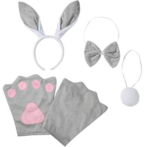 Kind Kostüm Hase - dressforfun 302034 - Kostüm Set Hase für Kinder, Haarreif mit Ohren, Handschuhe, Fliege und Schwanz