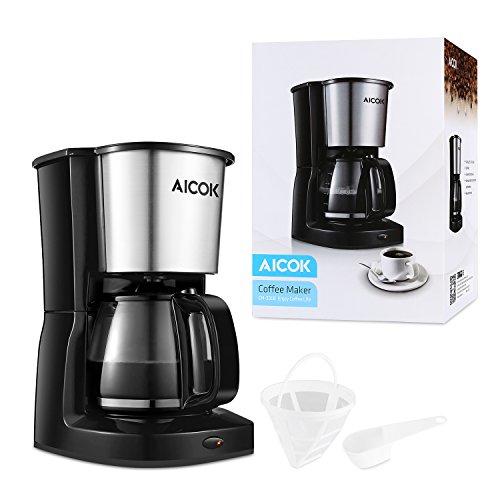 Aicok-Cafetire-Filtre-Systme-Anti-goutte-Cafetire-lectrique-Avec-Verseuse-en-verre-et-Filtre-Permanant-Amovible-1000W-Noir-Acier-Inoxydable