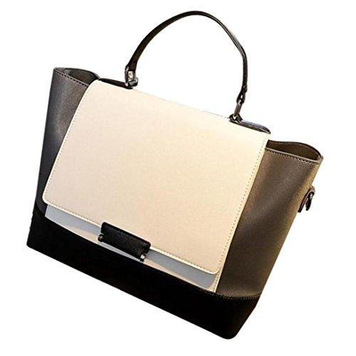 Longra Borsa in bianco e nero di colore borsa delle donne blcok PU unica borsa a tracolla Nero Tienda De Liquidación bj9jd