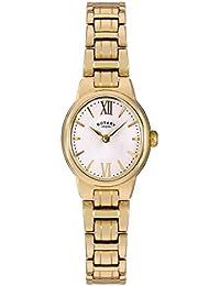 Giratorio Olivie Mujer Reloj De Cuarzo con Esfera Analógica Blanca Pantalla y Oro Pulsera de Acero