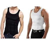 Set of 2 Slim'N Lift Slimming Shirts For Men Balck & White, Large