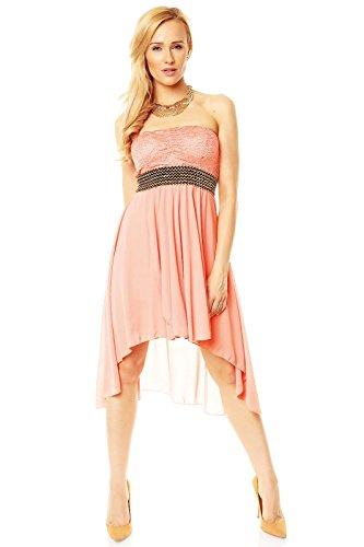 Elegantes Vokuhila Kleid Partykleid, Abendkleid, Cocktailkleid lachs rosa