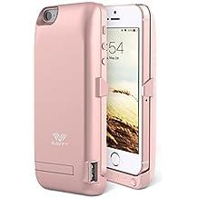 Funda Batería iphone 5 / 5s , SAVFY Case carcasa Con Batería Cargador-batería Externa Recargable 2200mAh Para iPhone 5 / 5s (Rosado)