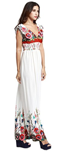 Smile YKK Femme Rétro Robe Longue Peplum V Col Imprimée Floral Casual de Beach Blanc