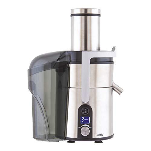 H.Koenig Centrifugeuse Extracteur de Jus de Fruits et Légumes 1L Inox GS32 Sans BPA, Bec Verseur Extra-Large bouche, Puissante 1200W, 5 Vitesses, Ecran LCD, Pieds Anti-dérapants