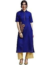 Jaipur Kurti Women's Handloom Cotton Kurta With Beige Palazzo (Blue)