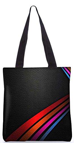 Snoogg Farbigen Linien Auf Leder Tasche 13,5 X 15 In