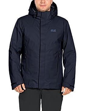 Jack Wolfskin Norte borde hombres impermeable chaqueta, hombre, color azul oscuro, tamaño large
