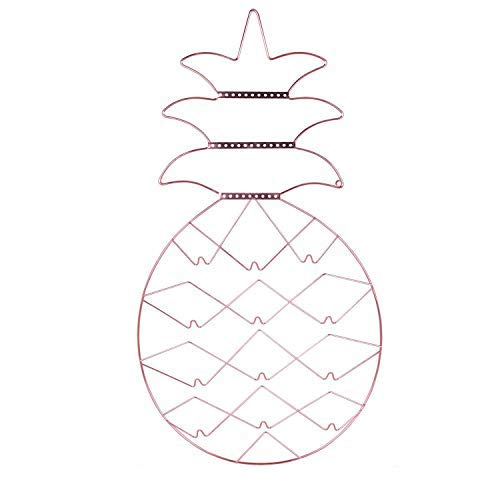 Nugoo Schmuck-Organizer zum Aufhängen, Ananas-Form, Schmuck-Wand-Halterung, dekoratives Display für Ohrringe, Halskette, Uhr und Armband, Roségold (Note Kleiderbügel)