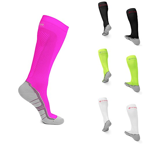 Kaizen Kompressionsstrümpfe High Performance Sport Socken Stützstrümpfe Kompressionssocken (Neon Pink, EU 35-38 /// UK 3-6) - High-performance-knöchel-socken