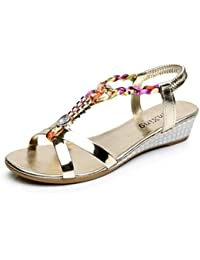 LUCKYCAT Sandales d/ét/é Femme Chaussures de /Ét/é Sandales /à Talons Chaussures Plates Coin Plat Rome Cravate Plate-Forme Irr/éguli/ère Chaussures de Plage 2018