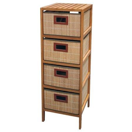 Bambus Regal mit 4 Körben - Holz Schubladen Regal