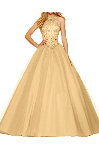 Ivydressing Damen Neckholder Tuell Duchesse-Linie Steine Partykleid Promkleid Festkleid Ballkleid Abendkleid Champagner