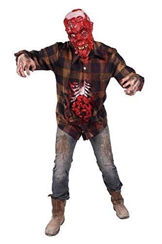 Thetru 2399 Herrenkostüm Running Dead 1-Teilig Hemd offener Bauch Zombie Leiche Untoter Halloweenkostüm Herren Halloween Herrenkostüm Karneval Fasching Verkleidung Braun (Running Kostüme Herren)