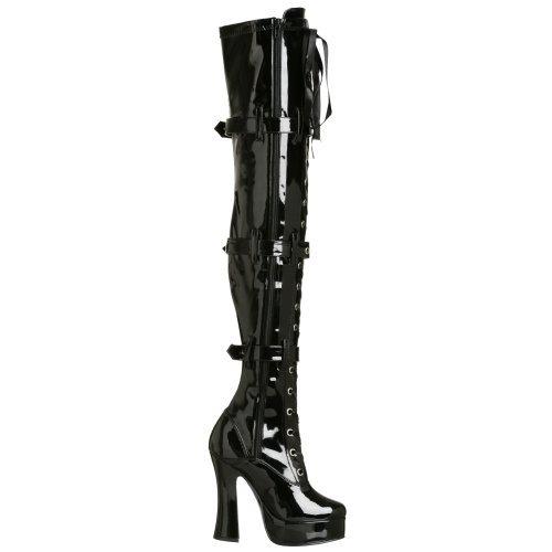 PleaserUSA Overknee-Stiefel Electra-3028 Lack Schwarz