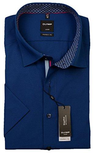 OLYMP -  Camicia classiche  - Basic - Con bottoni  - Maniche corte  - Uomo Blau