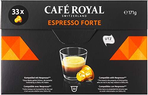 Café Royal Espresso Forte 132 cápsulas compatibles con Nespresso, Intensidad: 8 de 10 (Pack de 4 x 33 cápsulas)