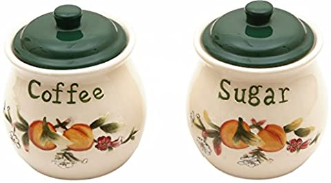 Alice de la collection–Ensemble de café et sucre Pot en céramique avec couvercle hermétique–relief–pêches et crème Motif