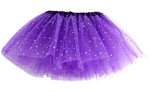 MIOIM Kinder Mädchen Rock Sequin Bling Sterne Tüllrock Tutu Petticoat Ballettröckchen Tanzrock Minirock (Tutu Lila Pink Damen Und)