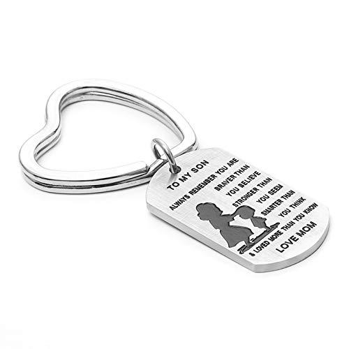 Blisfille Edelstahl Schlüsselanhänger Anhänger Für Herren Herz Ring Mit Hund Tag Schild Gravierte to My Son.Love Mom Schlüsselanhängers Für Damen
