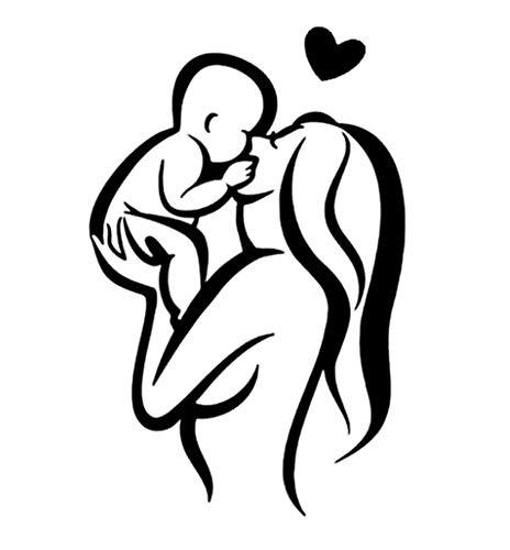EROSPA® Auto-Aufkleber Baby On Board - Mutter/Kind / Herz - Car-Sticker Baby (Schwarz)
