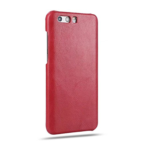 YHUISEN Retro Style Luxury Ultra Thin Original Leather Case Cover Schutzhülle für Huawei Honor 9 ( Color : Black ) Red