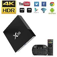 NBKMC-2018 4K TV Box Android【2G + 16G】 Quad-Core Smart TV Box + Clavier sans Fil (Couleurs modifiables) Boîtier Intelligent et 64 Bits True 4K Play H.265 WiFi 2.4Ghz X96