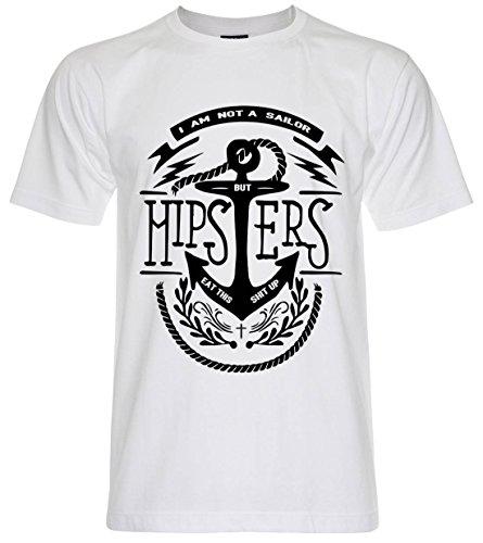 PALLAS Unisex's Sailor Anchor Hipster Vintage T Shirt White