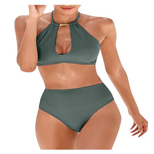 Bikinis Mujer 2020 Bañador Bikini Ropa De Playa Mujer Color Sólido Mujer Halter Dos Piezas Bikinis...