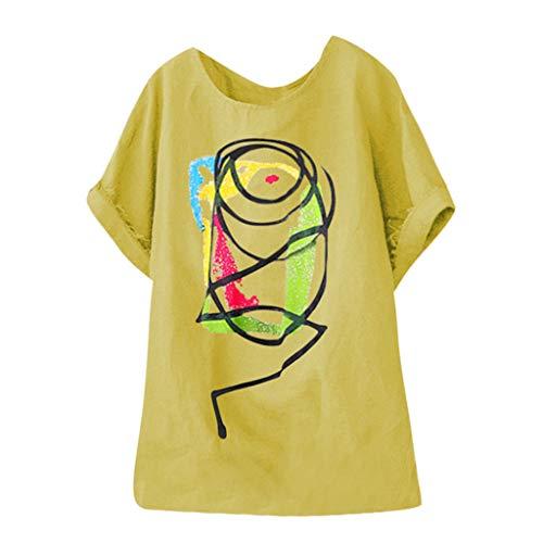 kolila Plus Size Damen Casual Graffiti Abstrakt Muster Print Shirt Bluse Rundhals Oberteile Lose Kurzarm Tops M-5XL -