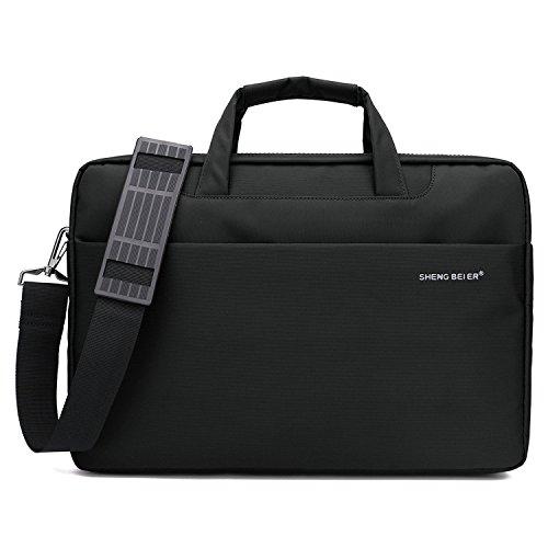 Laptop schultertasche 15,SHENG BEI ER Oxford Nylon wasserdichte Notebook-Schultertaschen laptop-Aktentaschen mit Tragegriff & abnehmbarer Schultergurt & zusätzliche Seitentasche für eine Bildschirmdiagonale von 39.6cm (15.6 Zoll) Notebook/Ultrabook(Schwarz) (Damen-schulter-laptop-tasche)
