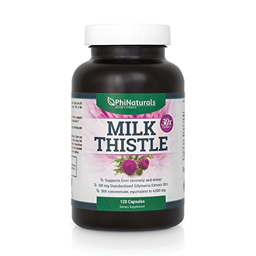 Milk Thistle - Liver Cleanse Support Detox - Silymarin - Extra Strength Extract 30x of 150 mg - Silybum Marianum - All Natural Organic Boost Immunity - Detox Supplement - Non-GMO Made in USA (120 Capsules)