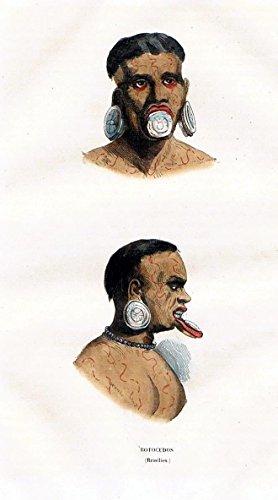 Botocudo people Brazil Brasilien Trachten Holzstich costumes antique print