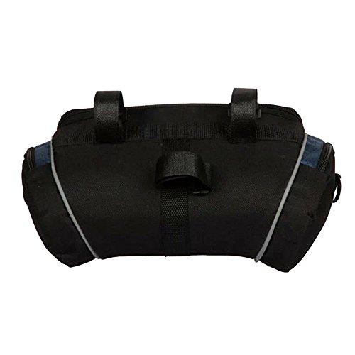 FakeFace 600D Polyester Lenkertasche Fahrradtasche zur Befestigung am Lenker auch als Schultertasche Umhängetasche für Radfahren Reise Camping 32 x 11 x 17 CM (Silbergrau) Dunkelblau