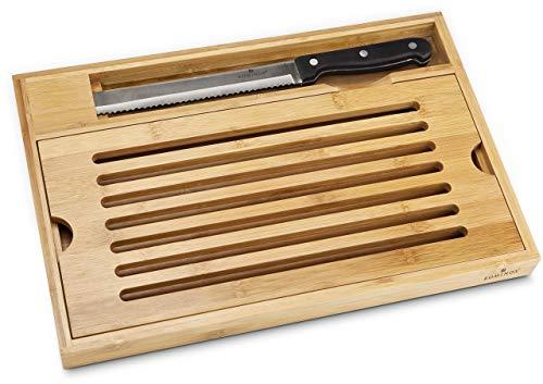 ROMINOX Geschenkartikel Brotschneide-Set // Krümel - 2-teiliges Set aus Brotmesser und Bambusbrett mit praktischem Krümelfach zum Herausnehmen; Maße: ca. 38 x 25 x 3.5 cm