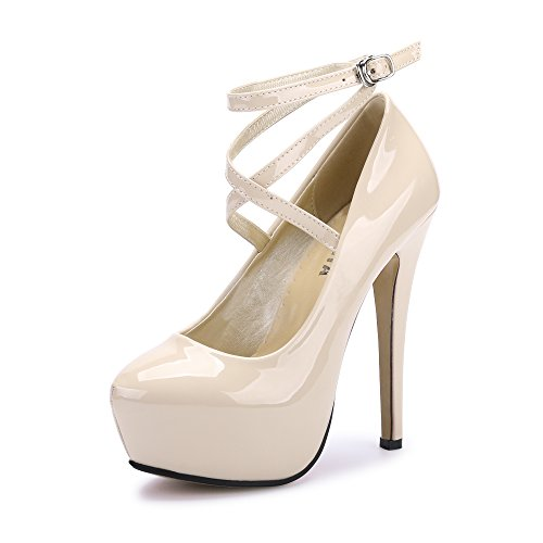 OCHENTA Women's Ankle Strap Platform Pump Party Dress High Heel (Beige Sole) PU Beige Tag Size 39 - UK 5.5