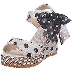 Mujer Sandalias de Plataforma de Lunares con Cordones, Sandalias de Tacones Zapatos señoras Sandalias de Vestir de Boda Elegantes de Fiesta Blanco 36