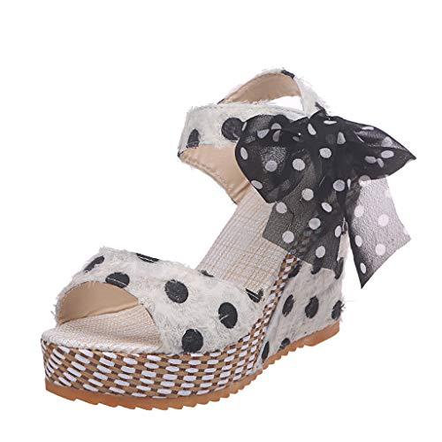 Mujer Sandalias de Plataforma de Lunares con Cordones, Sandalias de Tacones Zapatos señoras Sandalias de Vestir de Boda Elegantes de Fiesta Blanco 40