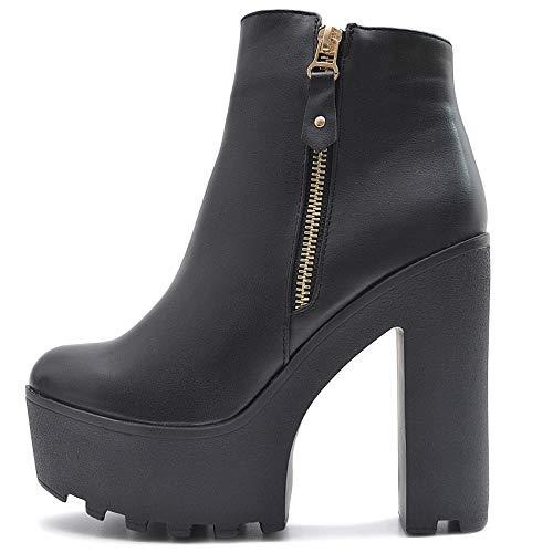 Vain Secrets Damen Chelsea Plateau Boots Stiefeletten mit Absatz Profil Sohle (35 EU, Schwarz M6)