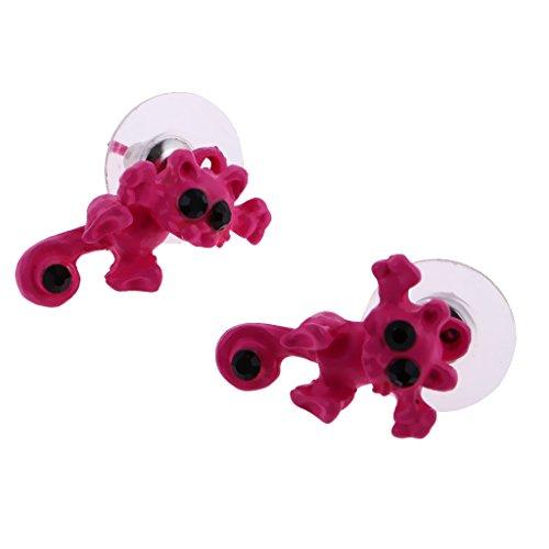 MagiDeal Pendientes Lindo 3D Gato Estereoscópico Animal Piercing Aretes - Rosa Rojo