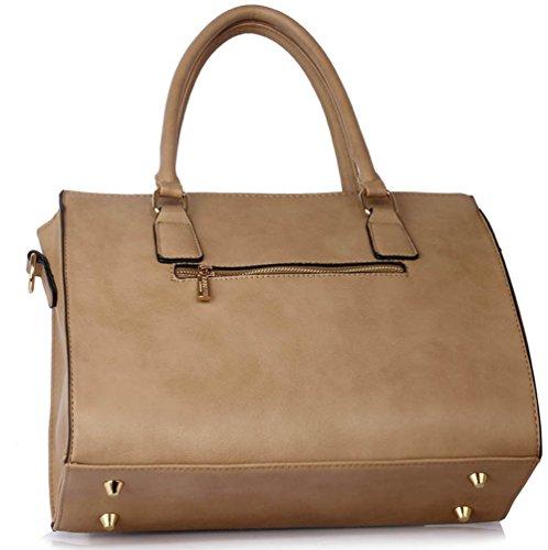 LeahWard® Damen Qualität Essener Tragetasche Schulter Handtaschen Schule A4 342 Taupe