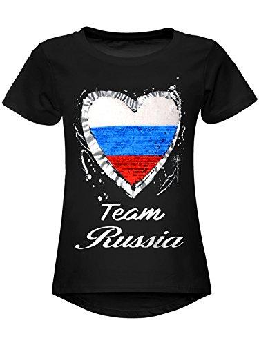 BEZLIT Mädchen WM 2018 T-Shirt Russia Wende-Pailletten Russland Herz 22737 Schwarz Größe 164
